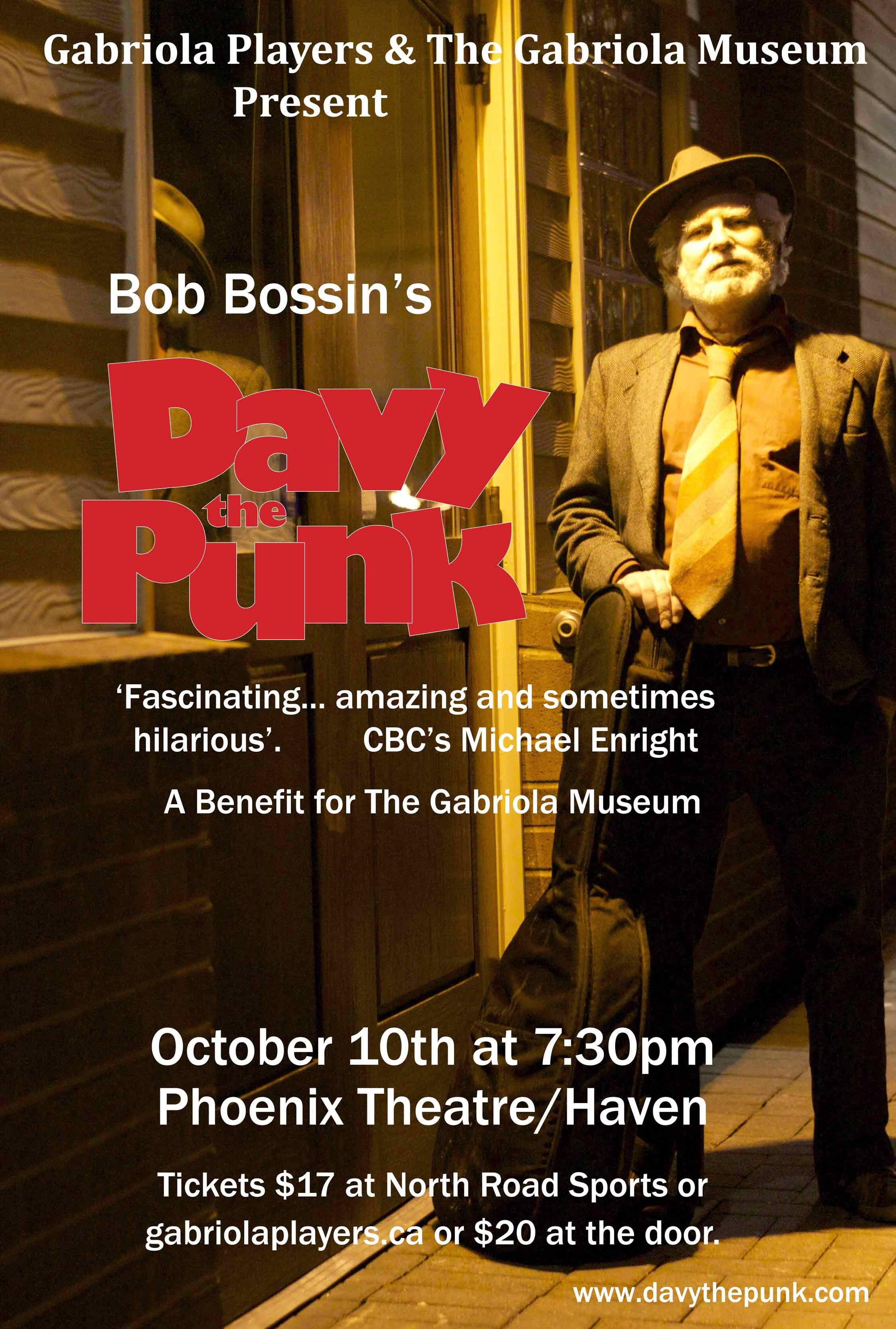 Bob Bossin's 'Davey the Punk' poster Gabriola Museum benefit
