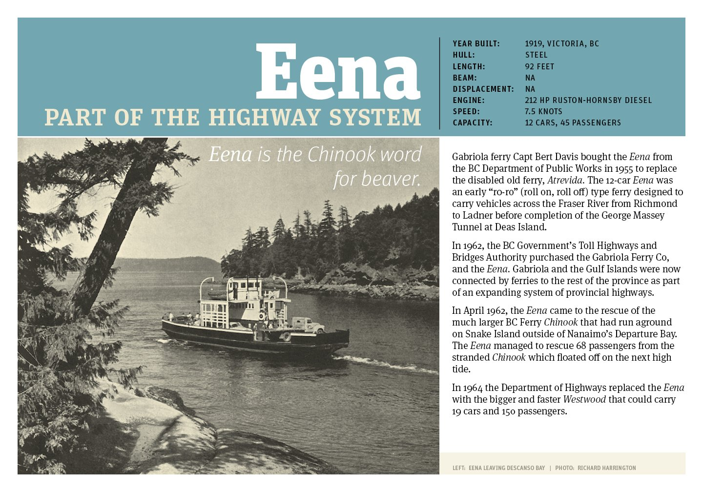 Poster of the Eena, second Gabriola ferry