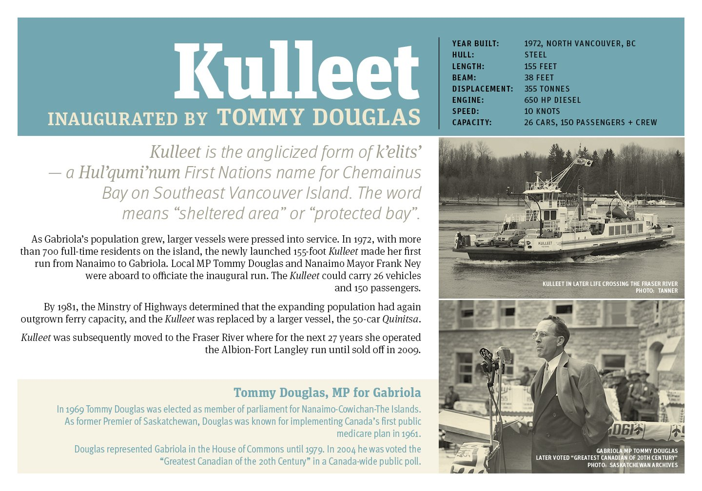 Poster of the Kulleet, 3rd ferry for Gabriola