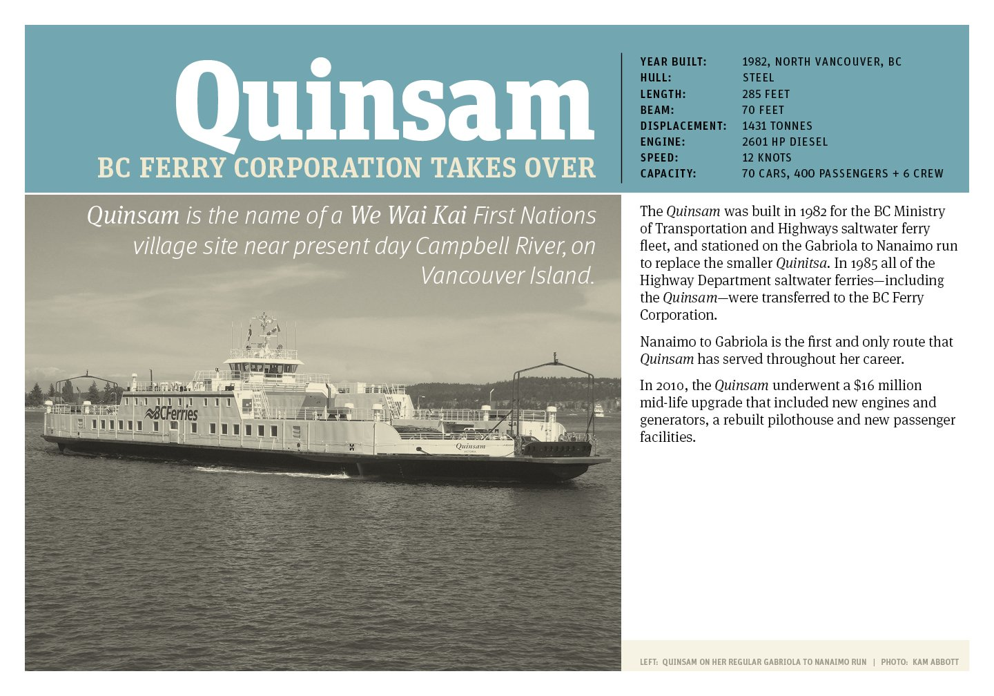 Gabriola Museum Poster of the Quinsam, current Gabriola ferry