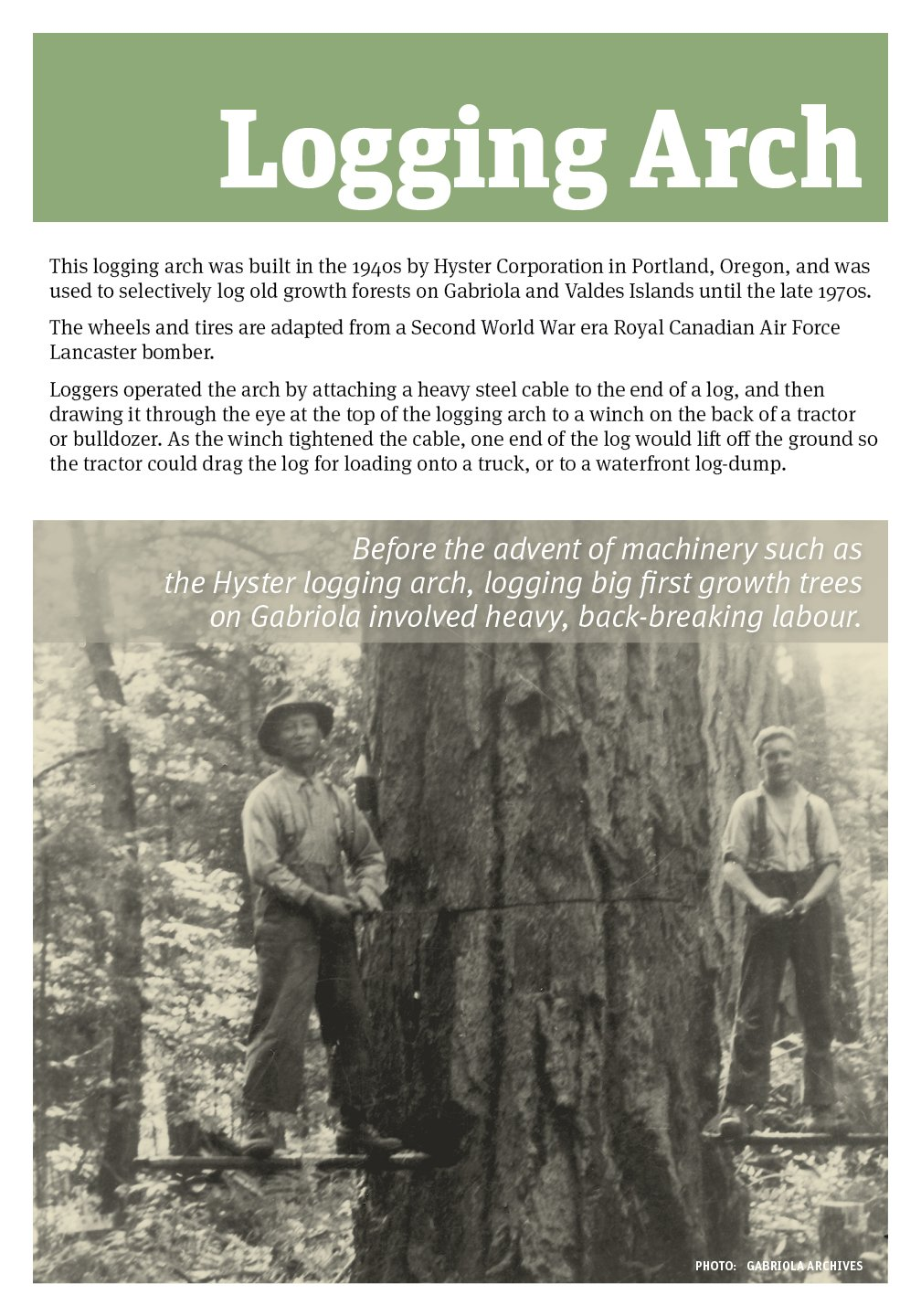 Poster with historical context of Gabriola Museum Logging Arch