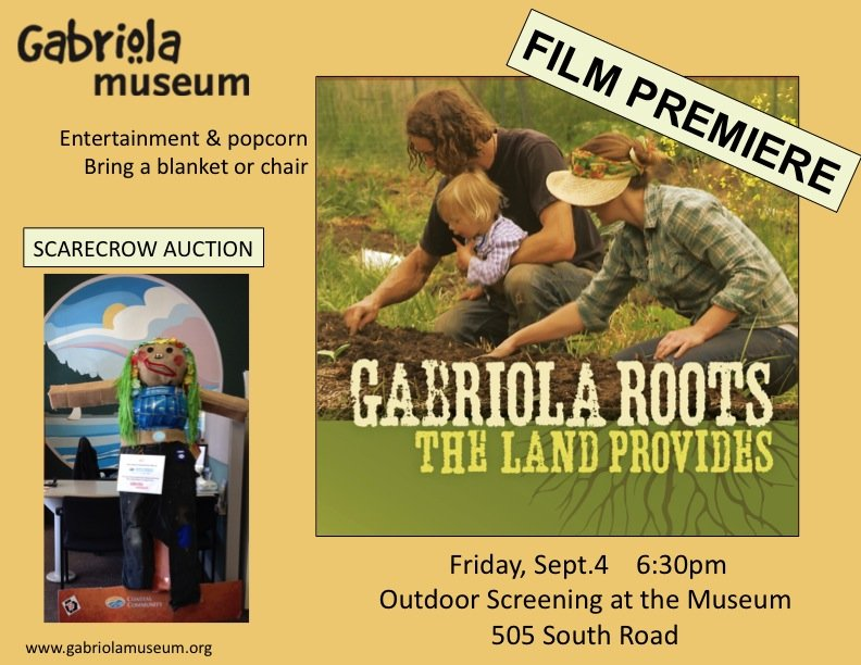 Gabriola Roots: The Land Provides film premiere and Scarecrow Auction fundraiser